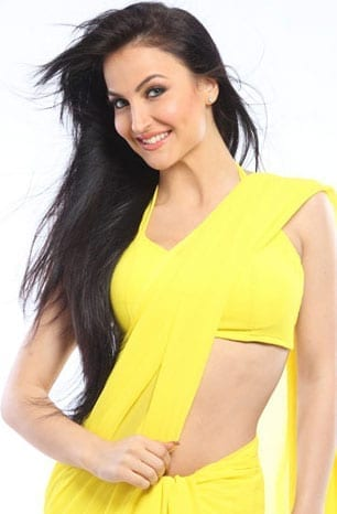 Elli Avram in yellow hot saree and blouse